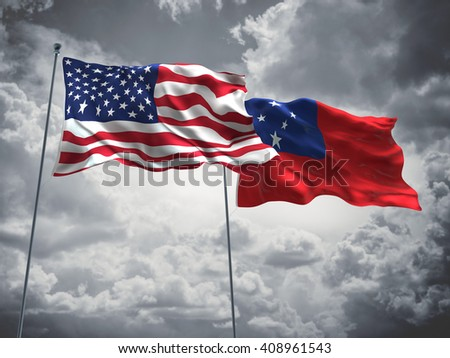 3D illustration of United States of America & Samoa Flags are waving in the sky with dark clouds