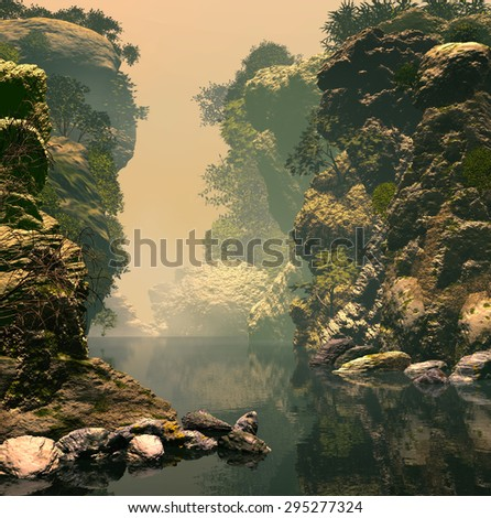3D Illustration of unspoiled landscape  of a lake  with various rock formations and vast vegetation in an atmosphere with a lot of fog. - stock photo