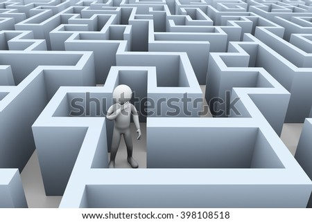 3d illustration of upset confuse man in complicated puzzle maze labyrinth. 3d rendering of human people character - stock photo