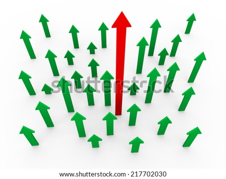 3d illustration of upward moving arrows with unique red winning arrow. Concept of success, leadership, uniqueness, competition, teamwork. - stock photo
