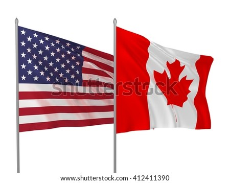 3d illustration of USA and Canada flags waving in the wind / Flags of countries - stock photo
