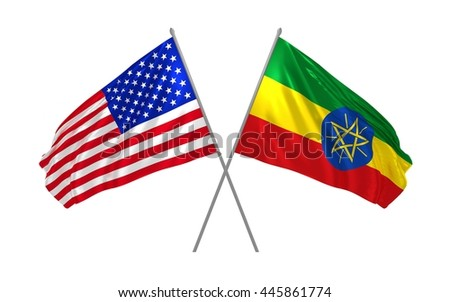 3d illustration of USA and Ethiopia flag waving in the wind - stock photo