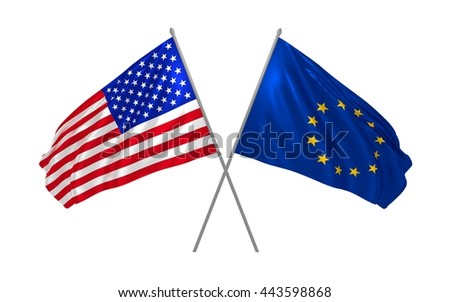 3d illustration of USA and EU flags - stock photo