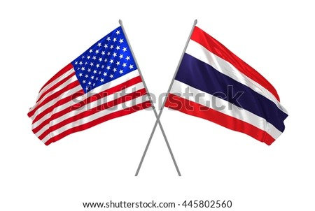 3d illustration of USA and Thailand flags waving in the wind
