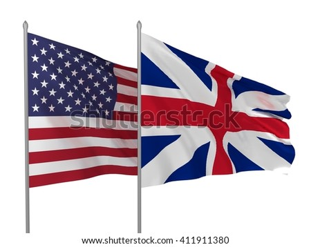 3d illustration of USA and UK flags waving / Flags of countries