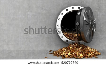 3d illustration of vault door and coins over cement background