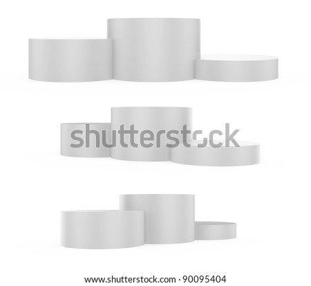 3d illustration of victory podium with first, second and third places - stock photo