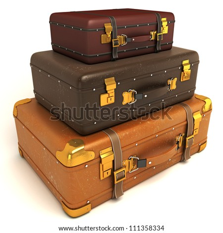 3d illustration of vintage leather suitcase piled up - stock photo