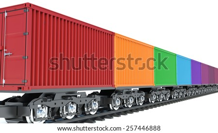 3d illustration of wagon of freight train with containers - stock photo