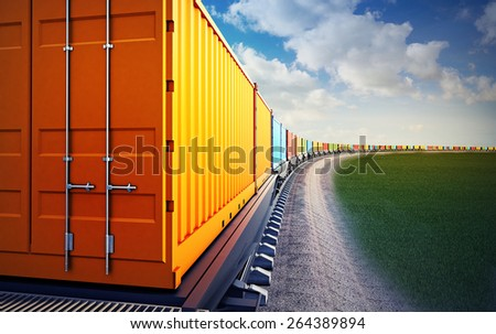 3d illustration of wagon of freight train with containers on the sky background - stock photo