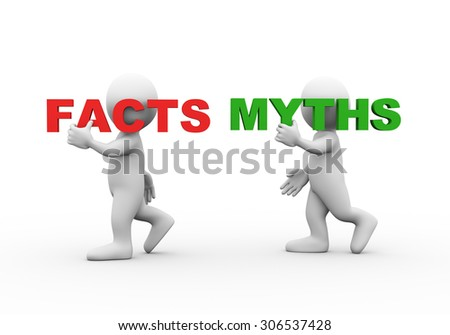 3d illustration of walking people carrying word text facts myths on their shoulder.  3d rendering of man people character - stock photo