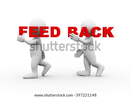 3d illustration of walking people carrying word text feed back on their shoulder.  3d rendering of man people character - stock photo