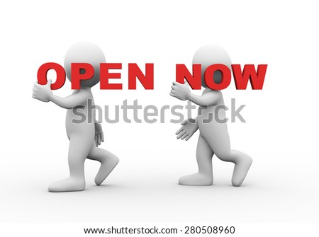 3d illustration of walking people carrying word text open now on their shoulder.  3d rendering of man people character - stock photo