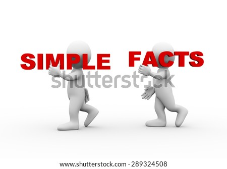 3d illustration of walking people carrying word text simple facts on their shoulder.  3d rendering of man people character - stock photo
