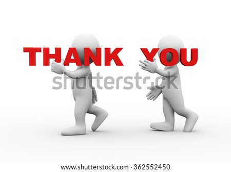 3d illustration of walking people carrying word text thank you on their shoulder.  3d rendering of man people character - stock photo