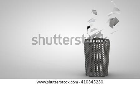 3D illustration of waste basket - stock photo