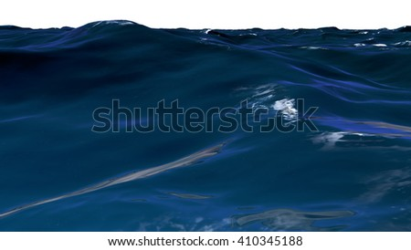 3D illustration of wavy water surface
