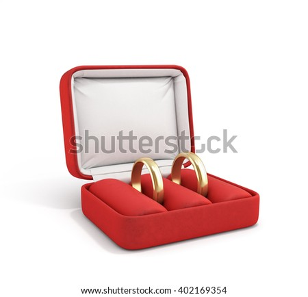 3d illustration of wedding bands, wedding rings in the red box, wedding jewelry, wedding preparation, wedding rings box isolated on white - stock photo