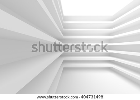 3d Illustration of White Abstract Architecture Background. Building Blocks - stock photo