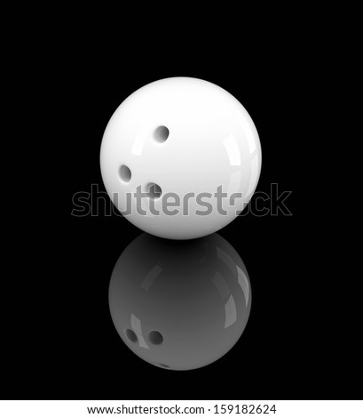 3D illustration of white bowling ball on black background - stock photo