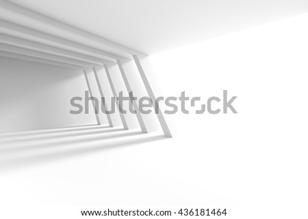 3d Illustration of White Building Construction. Abstract Architecture Background. Interior Design with Columns and Window - stock photo