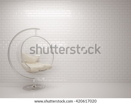 3d of white ceramic brick tile wall with bubble chair