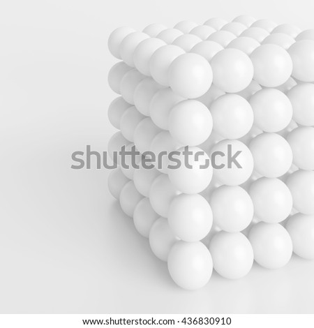 3d Illustration of White Cube. Abstract Geometric Background