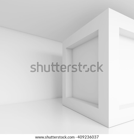 3d Illustration of White Cubes Interior. Abstract Futuristic Design. Modern Architecture Background