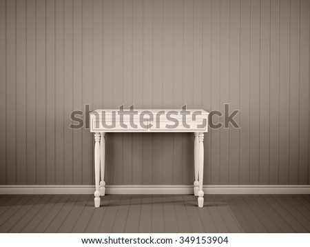 3d illustration of white decorative table in the dark interior
