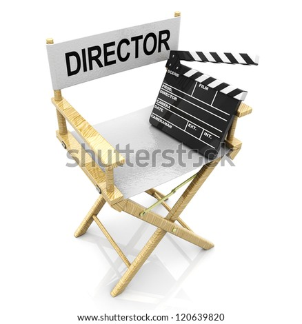 3d illustration of white director chair with black clapboard - stock photo