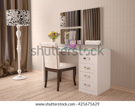3d Illustration Of White Dressing Table With A Mirror In Modern Style