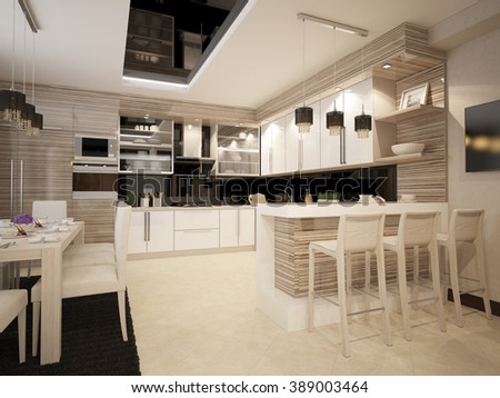 3d illustration of white furniture in a modern kitchen