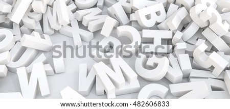3d illustration of white letters isolated on white background