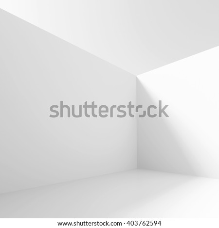 3d Illustration of White Minimalistic Interior Design. Abstract Wall Background.  - stock photo
