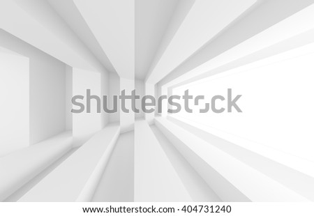 3d Illustration of White Modern Interior Design. Abstract Architecture Background - stock photo