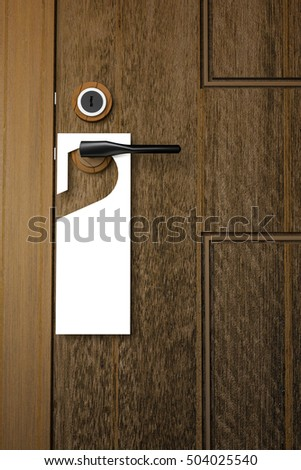 3D : Illustration of white Paper signboard hanging on a handle of wooden door resort or hotel