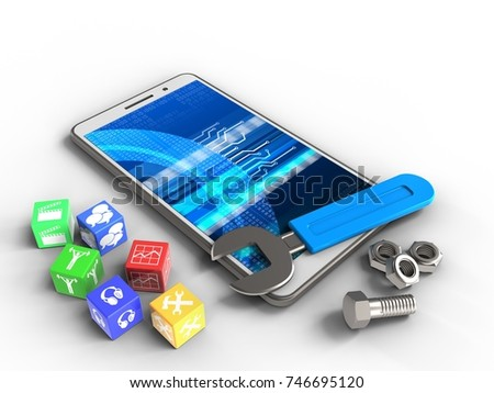 3d illustration of white phone over white background with cubes and wrench