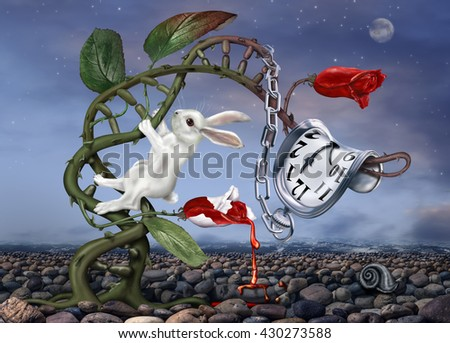 3D illustration of white rabbit climbing a double helix with surreal watch