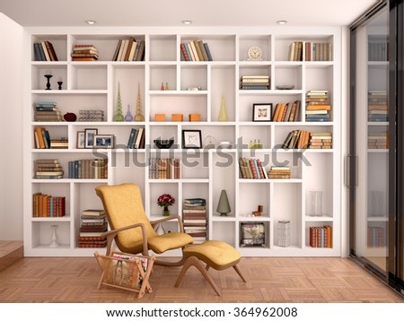 3d illustration of white shelves for decoration and a library in the interior - stock photo