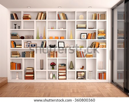 3d illustration of White shelves in the interior with various objects - stock photo