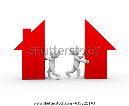 3d illustration of wife and husband separating home house symbol. family problem, people conflict and dispute