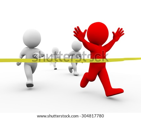 3d illustration of winner man racer crossing finish line ribbon. Concept of race, sport, competition, winning. 3d rendering of human people character - stock photo