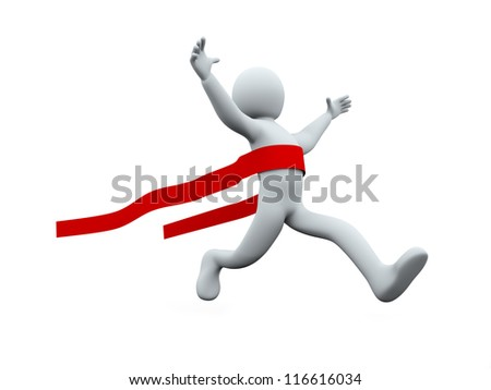 3d illustration of winner person crossing the finish line. 3d rendering of successful human character. - stock photo