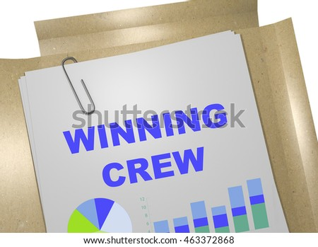 "3D illustration of ""WINNING CREW"" title on business document"