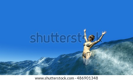 3D illustration of Woman swimming in the sea