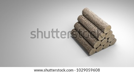 3d illustration of wooden trunk section isolated on white background