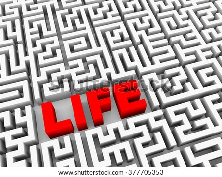 3d illustration of word life in maze puzzle labyrinth
