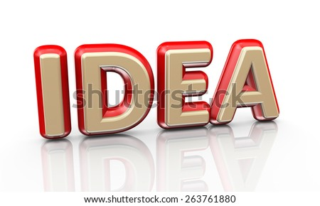 3d illustration of word text idea on reflective background - stock photo