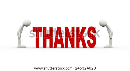 3d illustration of word thanks and men bow posing japanese thank you gesture pose. 3d human person character and white people - stock photo