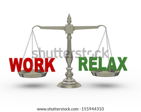 3d illustration of word work and relax on scale.  - stock photo